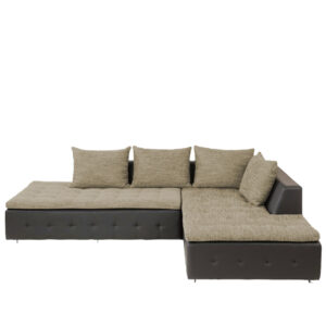 Maxwood L Shape Sofa in Black & Grey Colour
