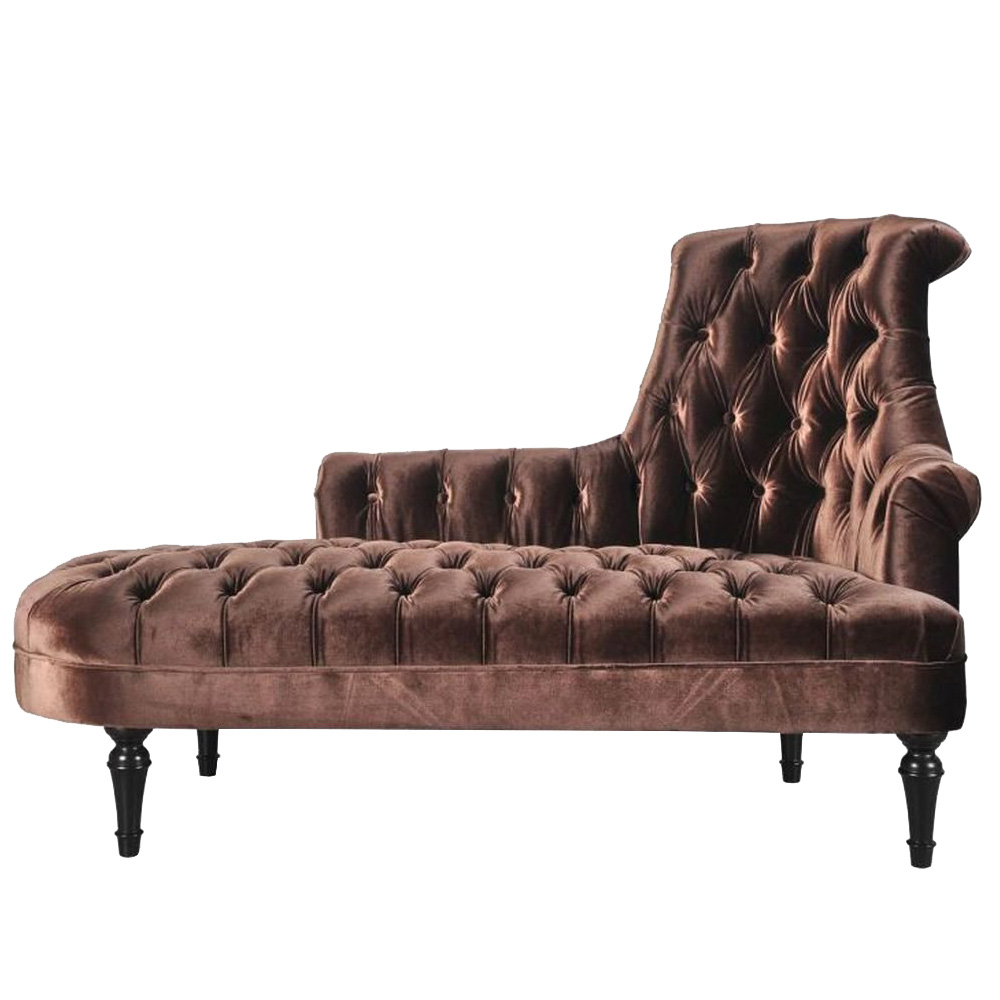 Annera Chaise Lounge Sofa in Brown Colour