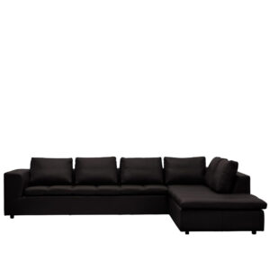 Radeso L Shape Sofa in Black Colour