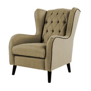 Zaletha Wingback Button Tufted Chair in Light Beige Colour