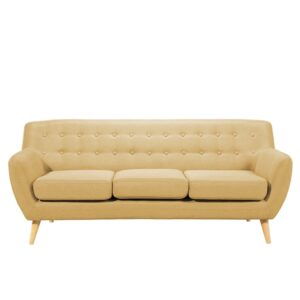 Zonnell 3 Seater Button Tufted Sofa in Beige Colour
