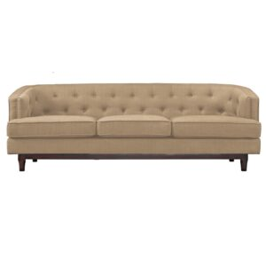 Tulbert 3 Seater Button Tufted Sofa in Beige Colour