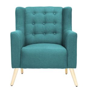 Zina Wingback Chair Button Tuftedin Blue Oil Colour