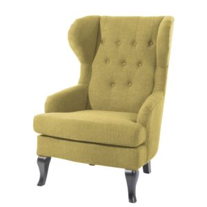 Majira Button Tufted Wingback Chair in Olive Colour