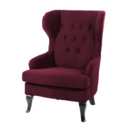 Majira Button Tufted Wingback Chair in Maroon Colour