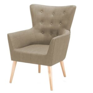 Wapait Button Tufted Wingback Chair in Beige Colour