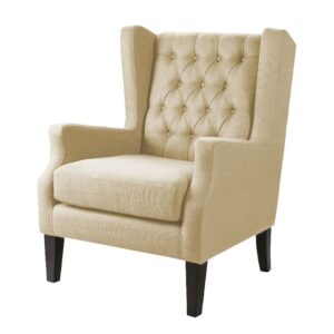 Lexina Wingback Chesterfield Chair in Beige Colour