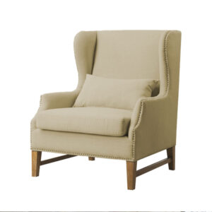 Ralexus Wingback Chair in Light Beige Colour