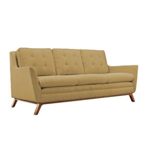 Beil 3 Seater Button Tufted Sofa in Biscotti Beige Colour