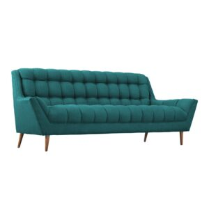 Thadwik 3 Seater Button Tufted Sofa in Blue Colour
