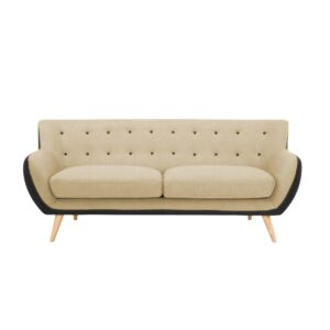 Jhatwin 3 Seater Button Tufted Sofa in Beige Colour