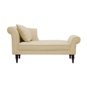 Nalan Chaise Lounge Curved Arms Sofa in Beige Colour
