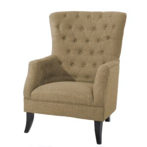 Bentola Button Tufted Wingback Chair in Beige Colour