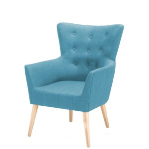 Wapait Button Tufted Wingback Chair in Blue Colour