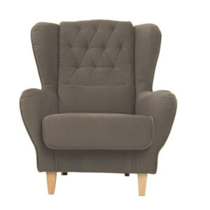 Somal Button Tufted Wingback Chair in Light Grey Colour