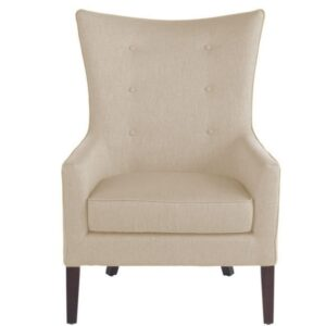 Wijar Button Tufted Wing Chair in Beige Colour