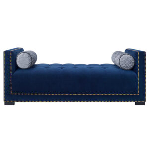 Zenly Button Tufted Lounger Sofa in Blue Colour