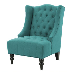Savler Chesterfield Wingback Chair in Aqua Blue Colour