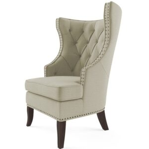 Galvin Chesterfield Wingback Chair in Light Beige Colour