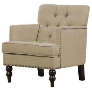 Tracia Chesterfield Wingback Chair in Beige Colour