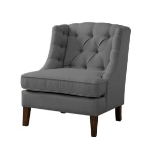 Marlyn Chesterfield Wingback Chair in Grey Colour