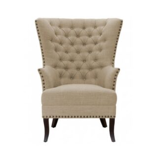 Clorvin Chesterfield Wingback Chair in Beige Colour