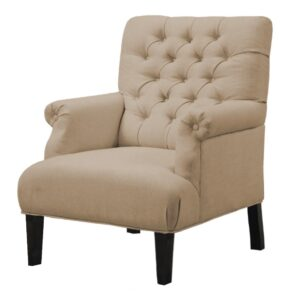 Malvis Chesterfield Wingback Chair in Beige Colour