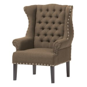Crasty Chesterfield Wingback Chair in Brown Colour